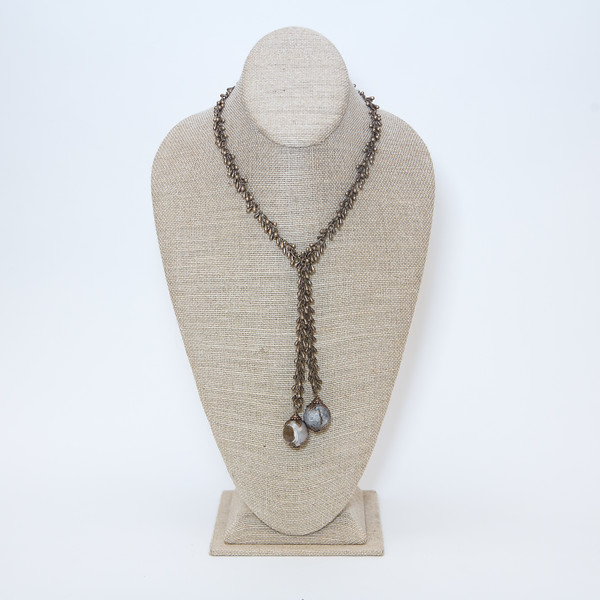 Bronze Teardrops Lariat with Faceted Natural Agate