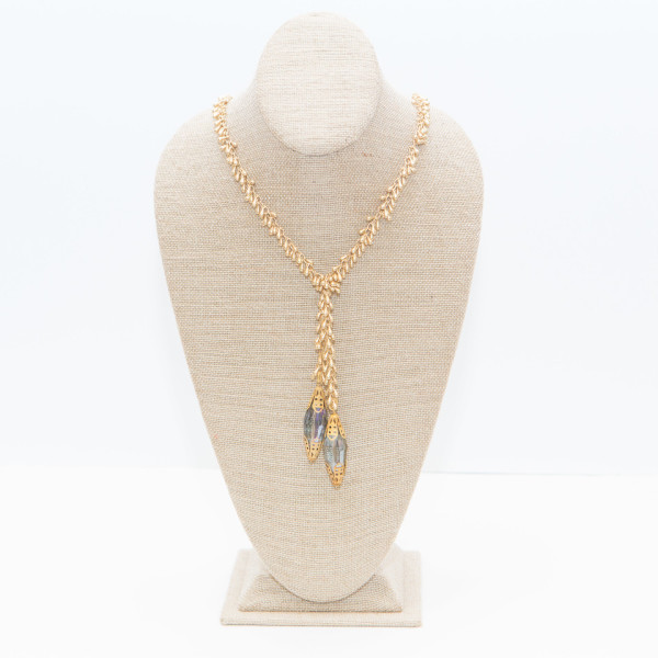 Gold Teardrops Lariat with Mystic Blue Thunderglass Crystals