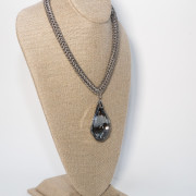 Black Diamond Faceted Crystal on Silver Chain 1