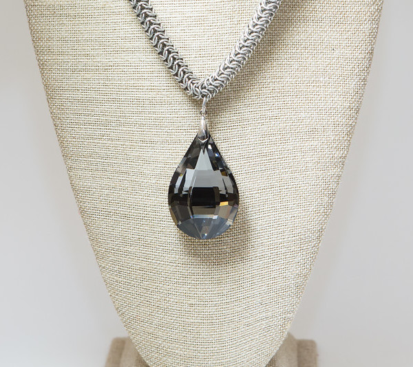 Black Diamond Faceted Crystal on Silver Chain 3