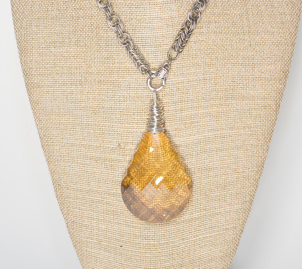 Gold Champagne Faceted Crystal on Silver Chain