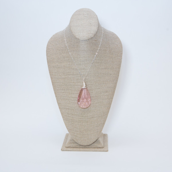 Rose Quartz Faceted Crystal on Silver Chain