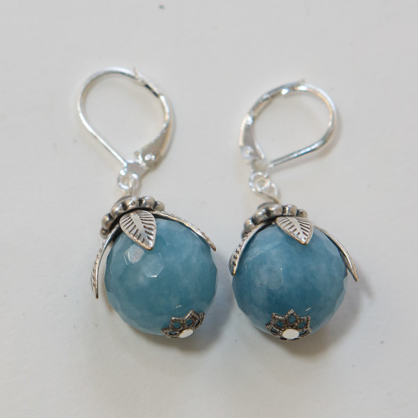 Silver Capped Aquamarine Earrings